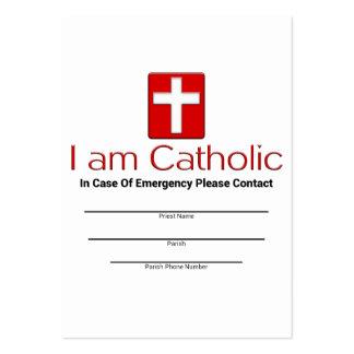 Tarjeta católica del contacto de la emergencia tarjetas de visita grandes