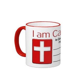 Tarjeta católica del contacto de la emergencia taza de dos colores