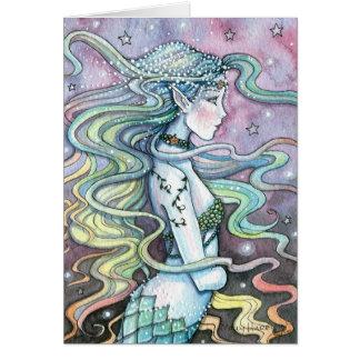 Tarjeta celestial Notecard del arte de la sirena d