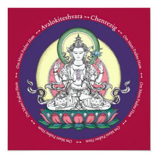 TARJETA Chenrezig/Avalokiteshvara - con el sobre Invitación