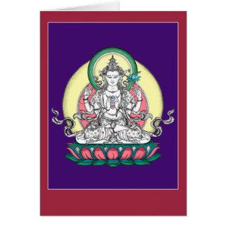 TARJETA Chenrezig/Avalokiteshvara con la explicaci