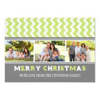Tarjeta Chevron verde gris de la foto de las Invitación 12,7 X 17,8 Cm