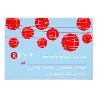 """Tarjeta china azul y roja de RSVP de las linternas Invitación 3.5"""" X 5"""""""