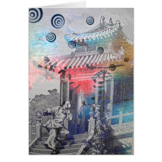 Tarjeta china del arte. Monjes en un templo