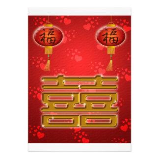 Tarjeta china del símbolo del boda de la felicidad comunicados personales