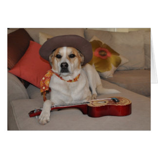 Tarjeta chistosa con la foto del perro en gorra de