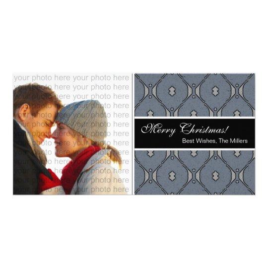 Tarjeta clásica de la foto del navidad {azul} tarjeta personal