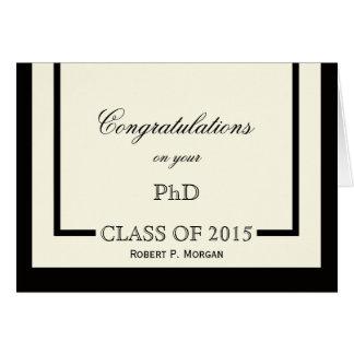 Tarjeta clásica de la graduación del PhD de la