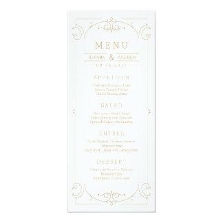 """Tarjeta clásica moderna elegante del menú del boda invitación 4"""" x 9.25"""""""