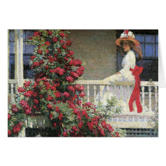 Tarjeta color de rosa carmesí de la bella arte de
