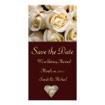 Tarjeta color de rosa de marfil de la invitación d tarjetas personales