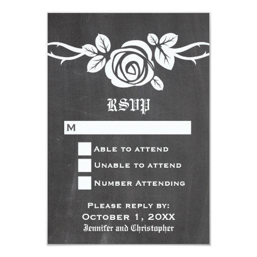 """Tarjeta color de rosa de marfil de la respuesta de invitación 3.5"""" x 5"""""""