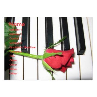 Tarjeta color de rosa del perfil del piano tarjetas de negocios