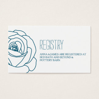 Tarjeta color de rosa del registro del boda del tarjetas de visita