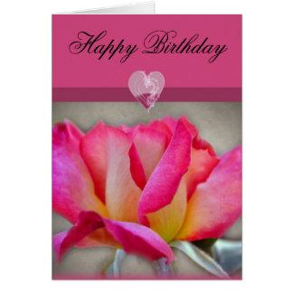 Tarjeta color de rosa elegante del feliz cumpleaño