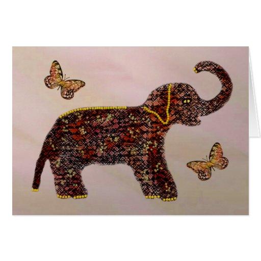 Tarjeta color de rosa exótica del elefante