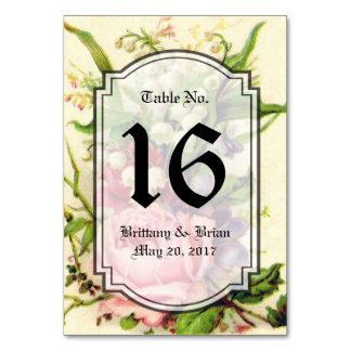 Tarjeta color de rosa floral del número de la tabl