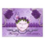 Tarjeta color de rosa púrpura de la invitación del invitación 8,9 x 12,7 cm