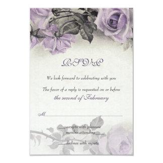 """Tarjeta color de rosa púrpura de RSVP de la plata Invitación 3.5"""" X 5"""""""