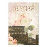 Tarjeta color de rosa rosada antigua de RSVP del v Invitación Personalizada