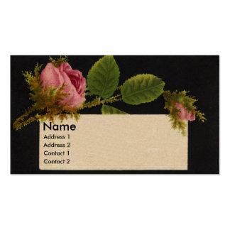 Tarjeta color de rosa rosada cubierta de musgo del tarjeta personal