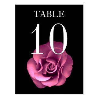 Tarjeta color de rosa rosada y negra del número de tarjetas postales