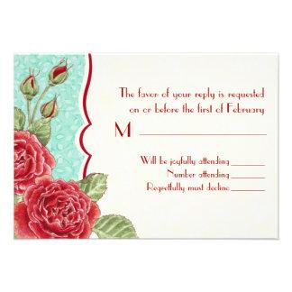 Tarjeta color de rosa trepador de RSVP Invitación