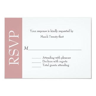 Tarjeta color de rosa y blanca polvorienta de uso invitación 8,9 x 12,7 cm