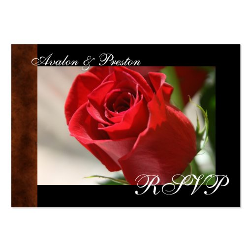 Tarjeta color de rosa y de cuero clásica de RSVP d Tarjeta De Visita
