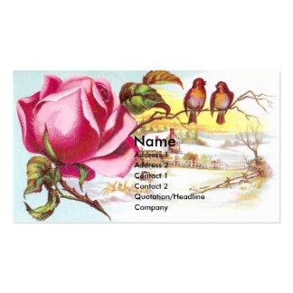 Tarjeta color de rosa y minúscula rosada del comer tarjetas de visita