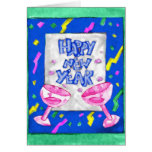 Tarjeta colorida de la Feliz Año Nuevo