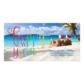 Tarjeta colorida de la Feliz Año Nuevo 311 Tarjeta Personal Con Foto