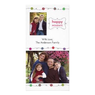 Tarjeta colorida de la foto del día de fiesta de l tarjeta con foto personalizada