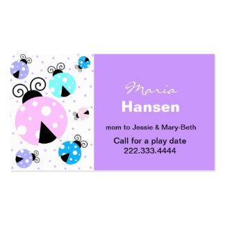 Tarjeta colorida de la mamá de las mariquitas tarjetas de visita