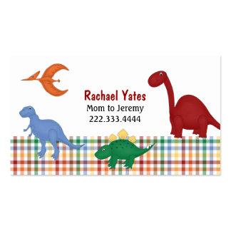 Tarjeta colorida de la mamá de los dinosaurios tarjetas de visita