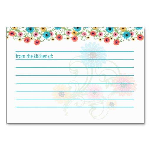 Tarjeta colorida de la receta de las flores del té