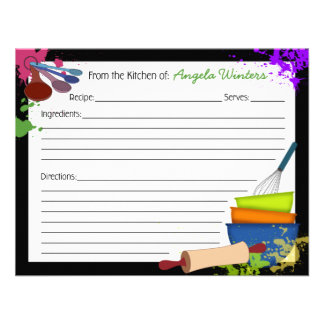 Tarjeta colorida de la receta del chapoteo comunicado personalizado