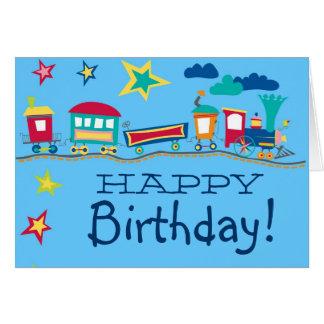 Tarjeta colorida del feliz cumpleaños del tren del