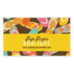 Tarjeta colorida del perfil de los flips-flopes de tarjetas de visita