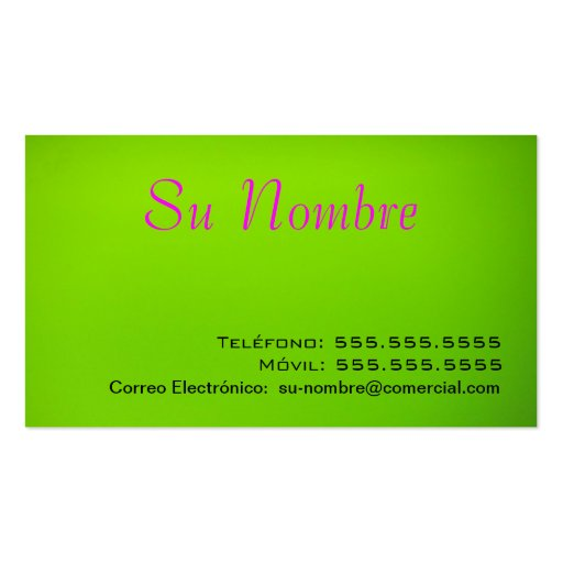 Tarjeta Comercial - Verde Double-Sided Standard Business Cards (Pack Of 100)