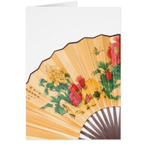 Tarjeta con la fan de seda china