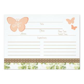 """Tarjeta con monograma de la receta de la mariposa invitación 4.5"""" x 6.25"""""""