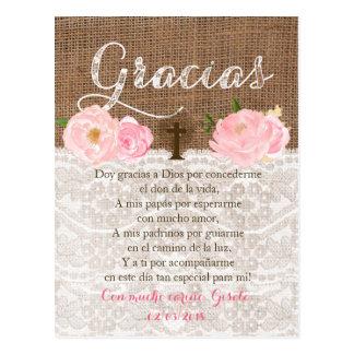 Tarjeta con oracion para invitados de Bautizo Postcard