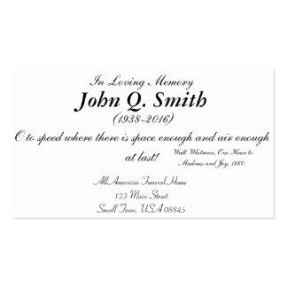Tarjeta conmemorativa fúnebre del conductor de tarjetas de visita