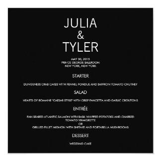 Tarjeta contemporánea del menú del boda invitación 13,3 cm x 13,3cm