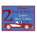Tarjeta convertible roja retra #2 de la tabla de postales