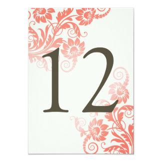 """Tarjeta coralina con clase del número de la tabla invitación 4.5"""" x 6.25"""""""