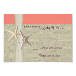Tarjeta coralina de la respuesta de Amore Shell de Invitación 8,9 X 12,7 Cm