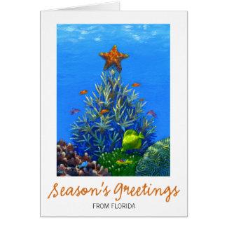 Tarjeta coralina del árbol de navidad