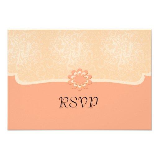Tarjeta coralina elegante de lujo de RSVP del dama